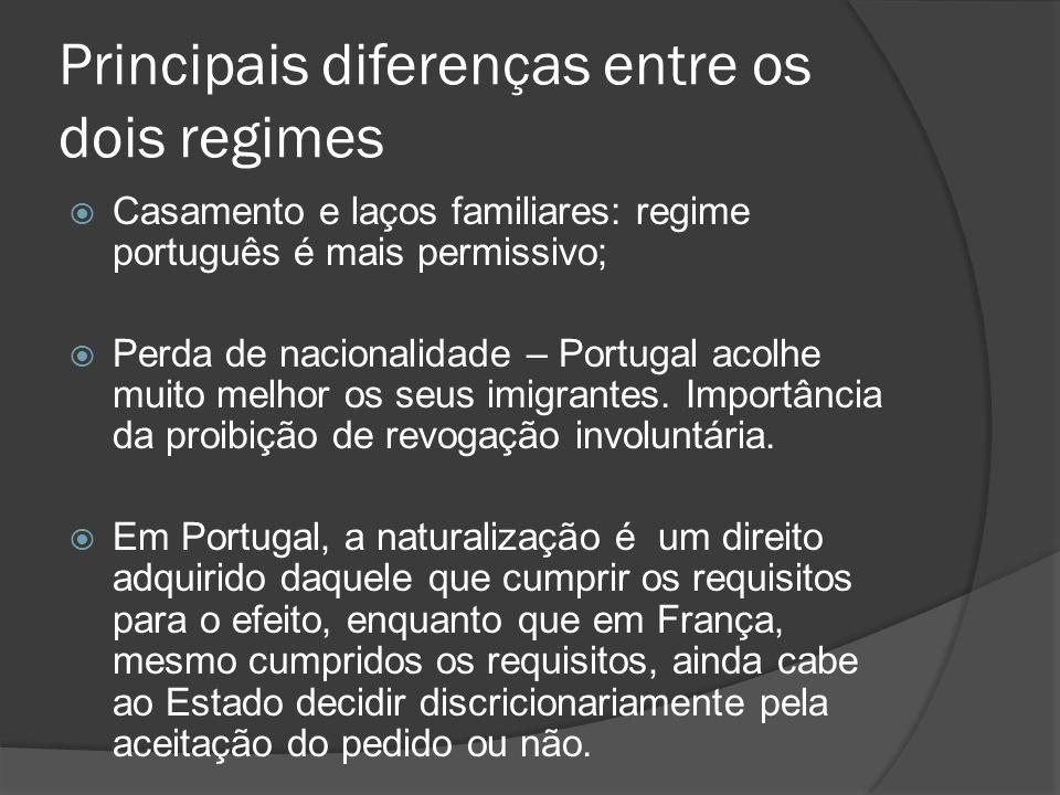 Principais diferenças entre os dois regimes