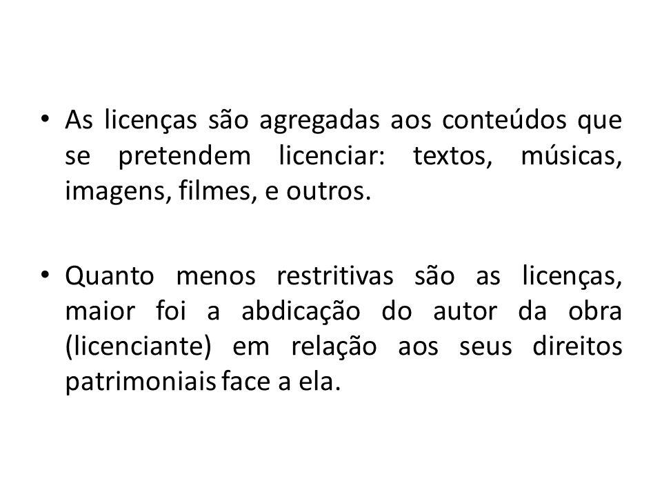 As licenças são agregadas aos conteúdos que se pretendem licenciar: textos, músicas, imagens, filmes, e outros.