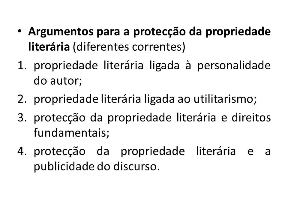 Argumentos para a protecção da propriedade literária (diferentes correntes)