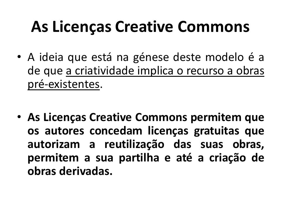 As Licenças Creative Commons