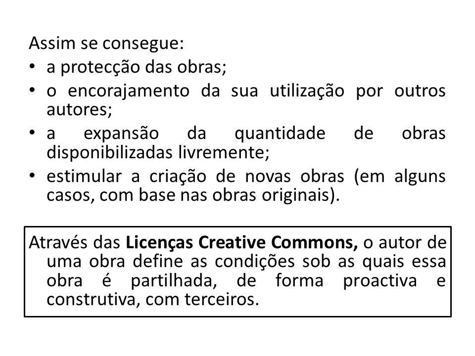 Assim se consegue: a protecção das obras; o encorajamento da sua utilização por outros autores;