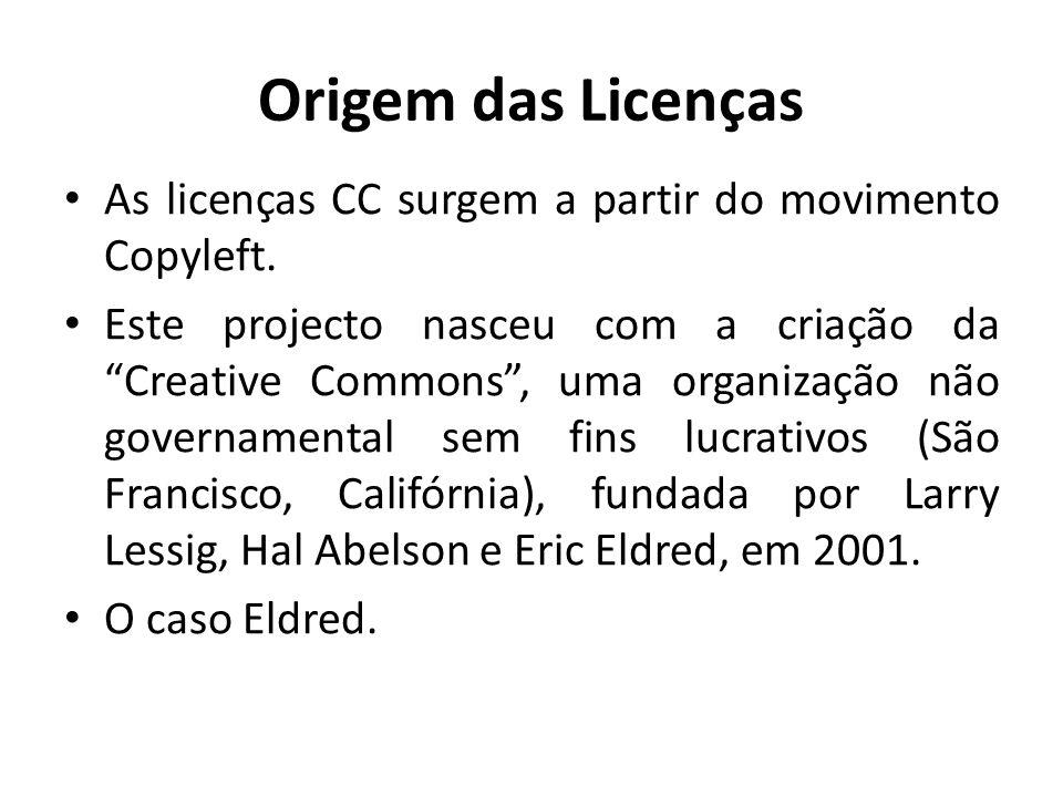 Origem das Licenças As licenças CC surgem a partir do movimento Copyleft.
