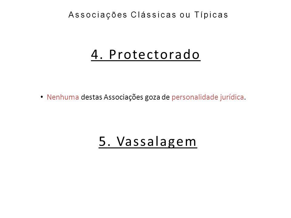 4. Protectorado 5. Vassalagem Associações Clássicas ou Típicas
