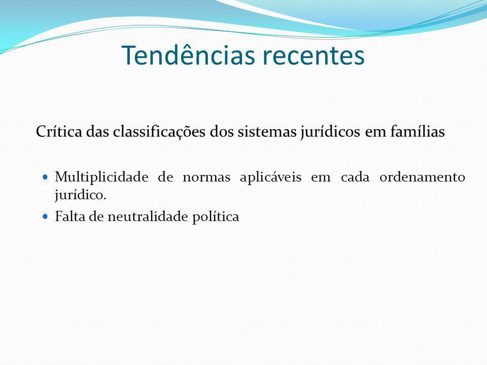Tendências recentes Crítica das classificações dos sistemas jurídicos em famílias. Multiplicidade de normas aplicáveis em cada ordenamento jurídico.
