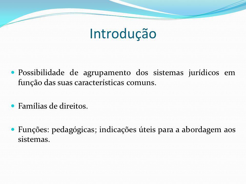 Introdução Possibilidade de agrupamento dos sistemas jurídicos em função das suas características comuns.