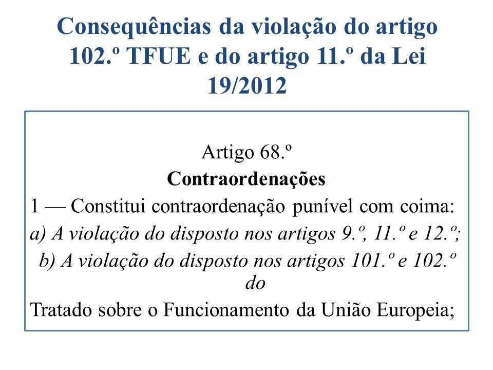 Consequências da violação do artigo 102. º TFUE e do artigo 11