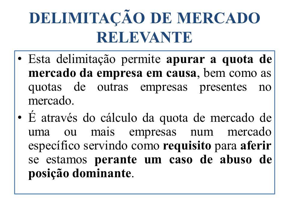 DELIMITAÇÃO DE MERCADO RELEVANTE