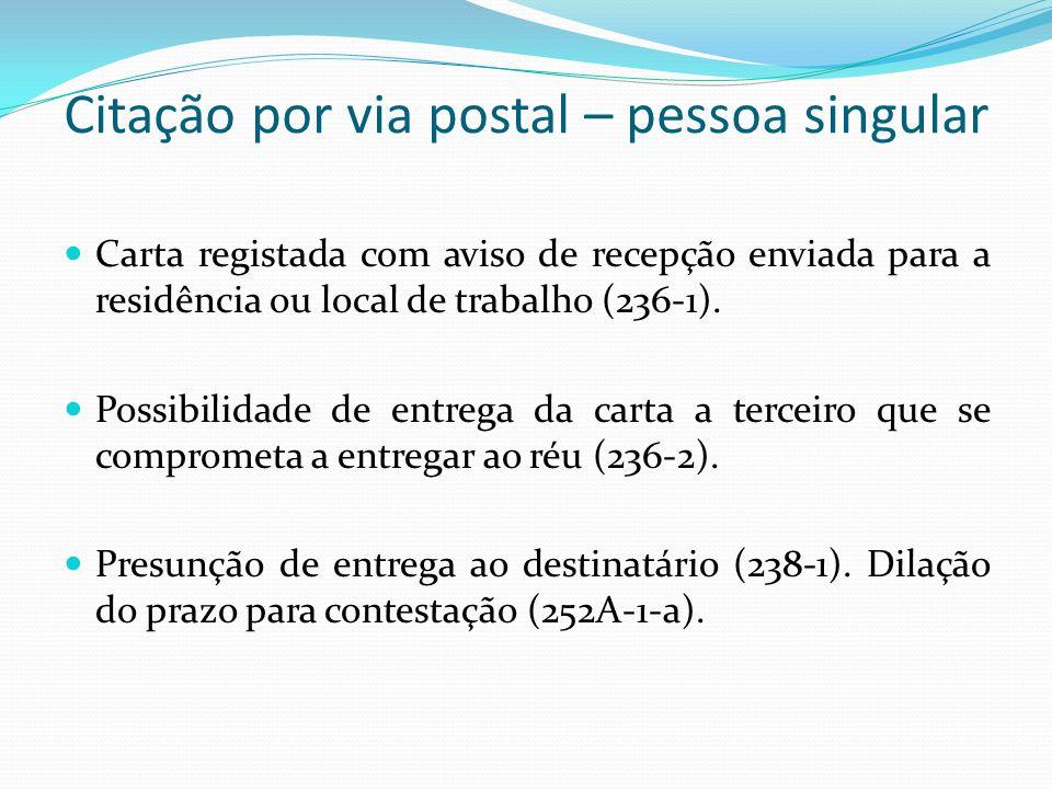 Citação por via postal – pessoa singular