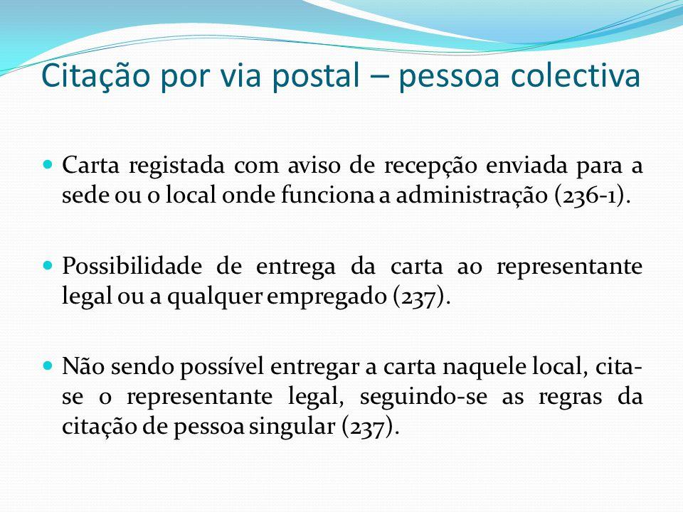 Citação por via postal – pessoa colectiva