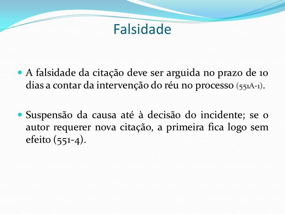Falsidade A falsidade da citação deve ser arguida no prazo de 10 dias a contar da intervenção do réu no processo (551A-1).