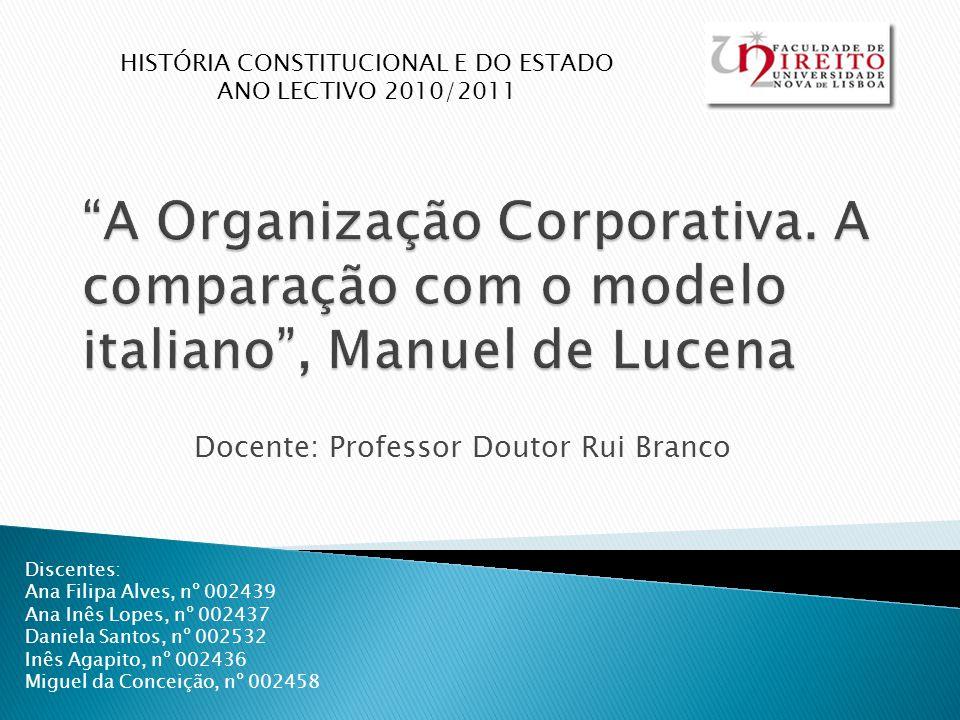 Docente: Professor Doutor Rui Branco