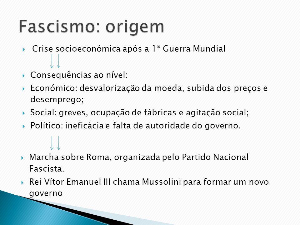 Fascismo: origem Crise socioeconómica após a 1ª Guerra Mundial