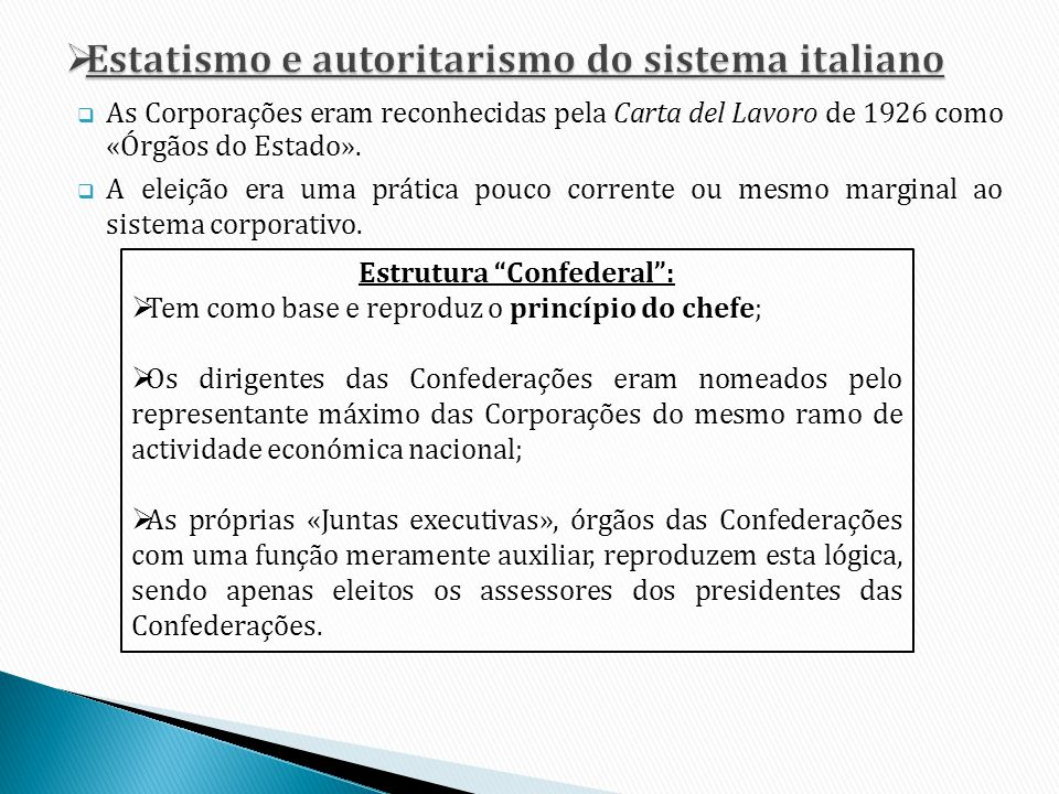 Estatismo e autoritarismo do sistema italiano