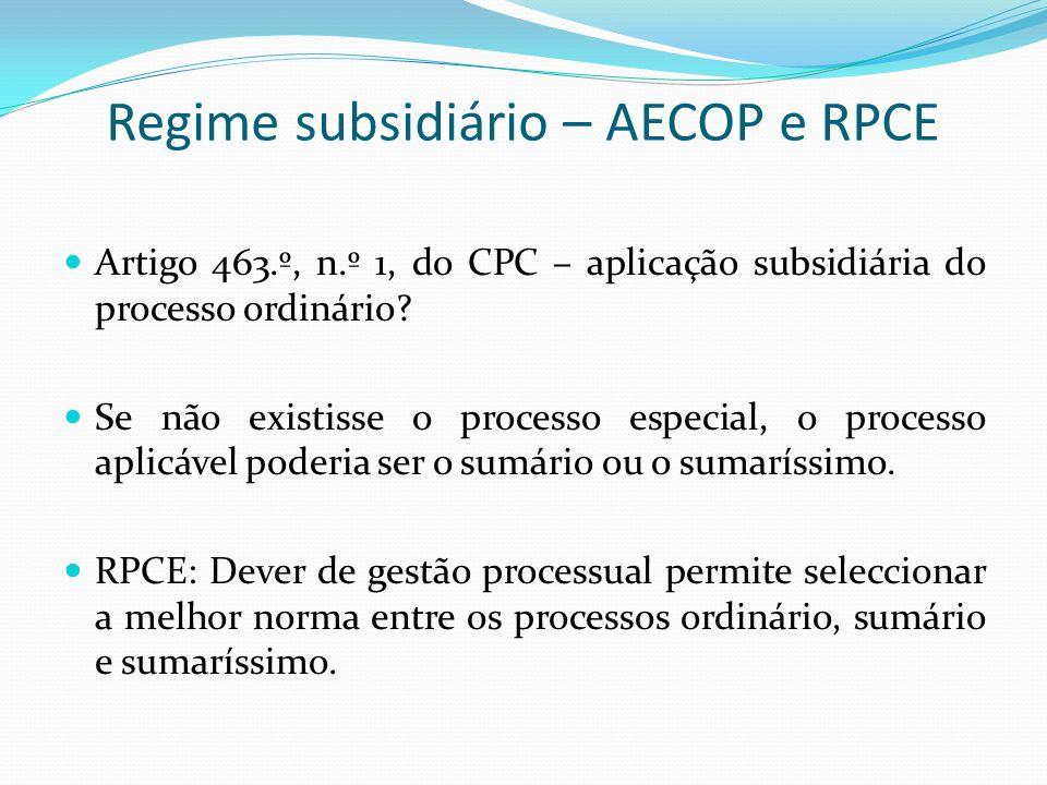 Regime subsidiário – AECOP e RPCE
