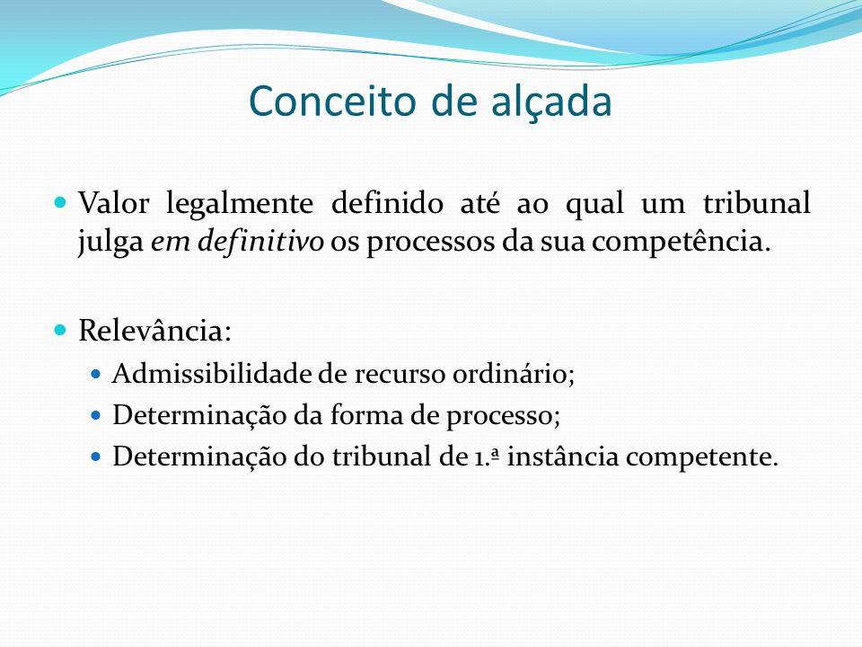 Conceito de alçada Valor legalmente definido até ao qual um tribunal julga em definitivo os processos da sua competência.