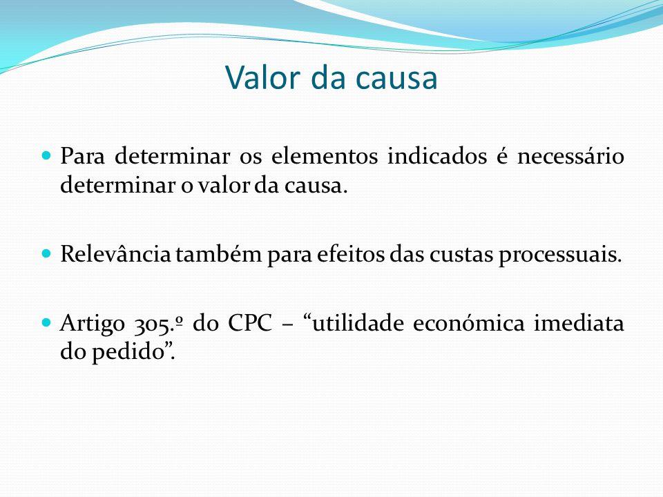 Valor da causa Para determinar os elementos indicados é necessário determinar o valor da causa.