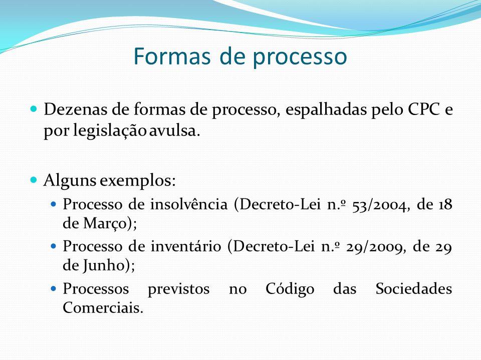Formas de processo Dezenas de formas de processo, espalhadas pelo CPC e por legislação avulsa. Alguns exemplos: