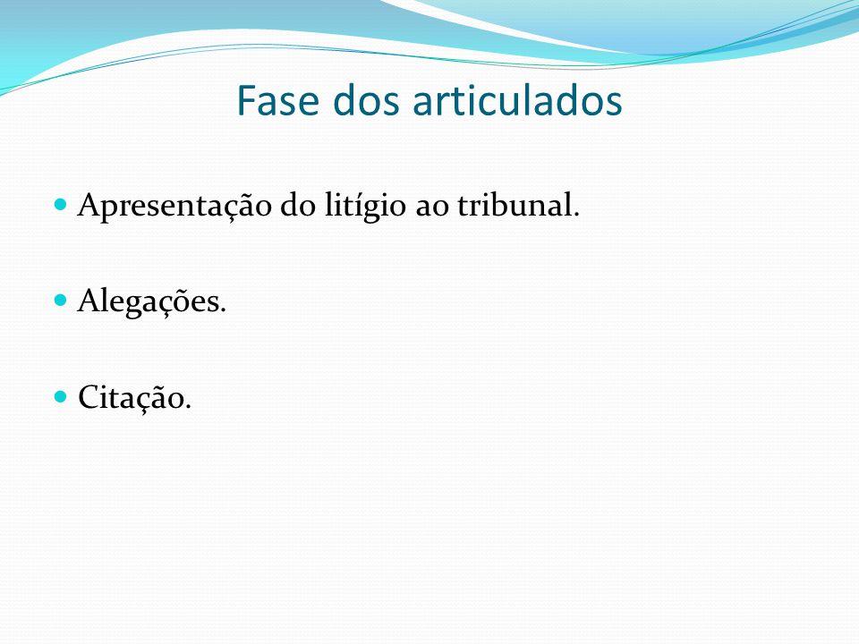 Fase dos articulados Apresentação do litígio ao tribunal. Alegações.