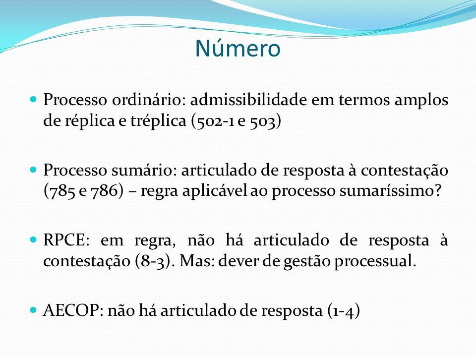 Processo ordinário: admissibilidade em termos amplos de réplica e tréplica (502-1 e 503)