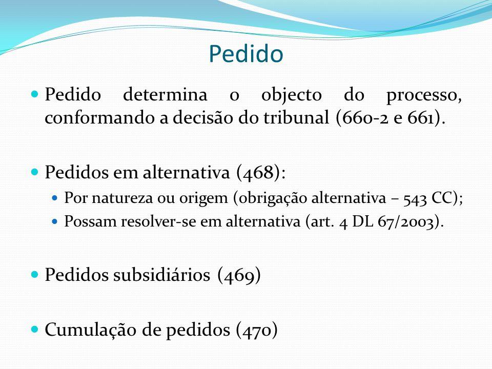 Pedido Pedido determina o objecto do processo, conformando a decisão do tribunal (660-2 e 661). Pedidos em alternativa (468):