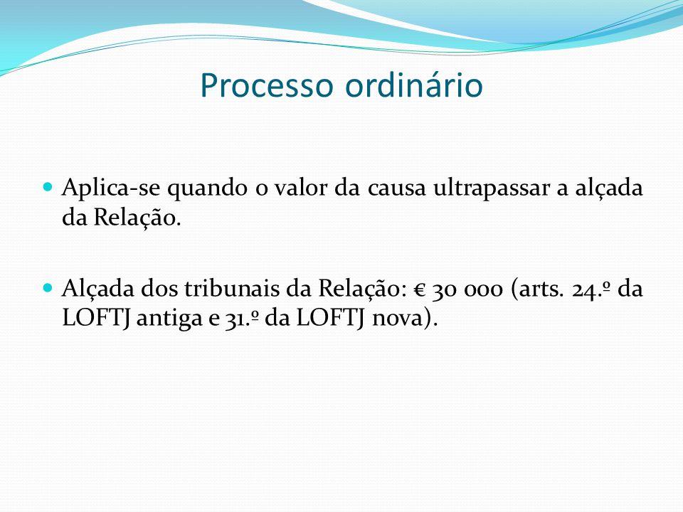 Processo ordinário Aplica-se quando o valor da causa ultrapassar a alçada da Relação.