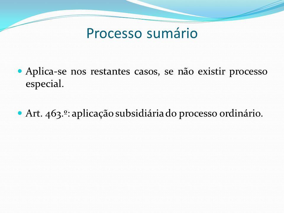 Processo sumário Aplica-se nos restantes casos, se não existir processo especial.