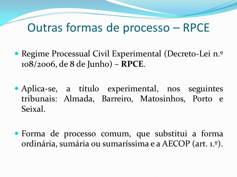 Outras formas de processo – RPCE