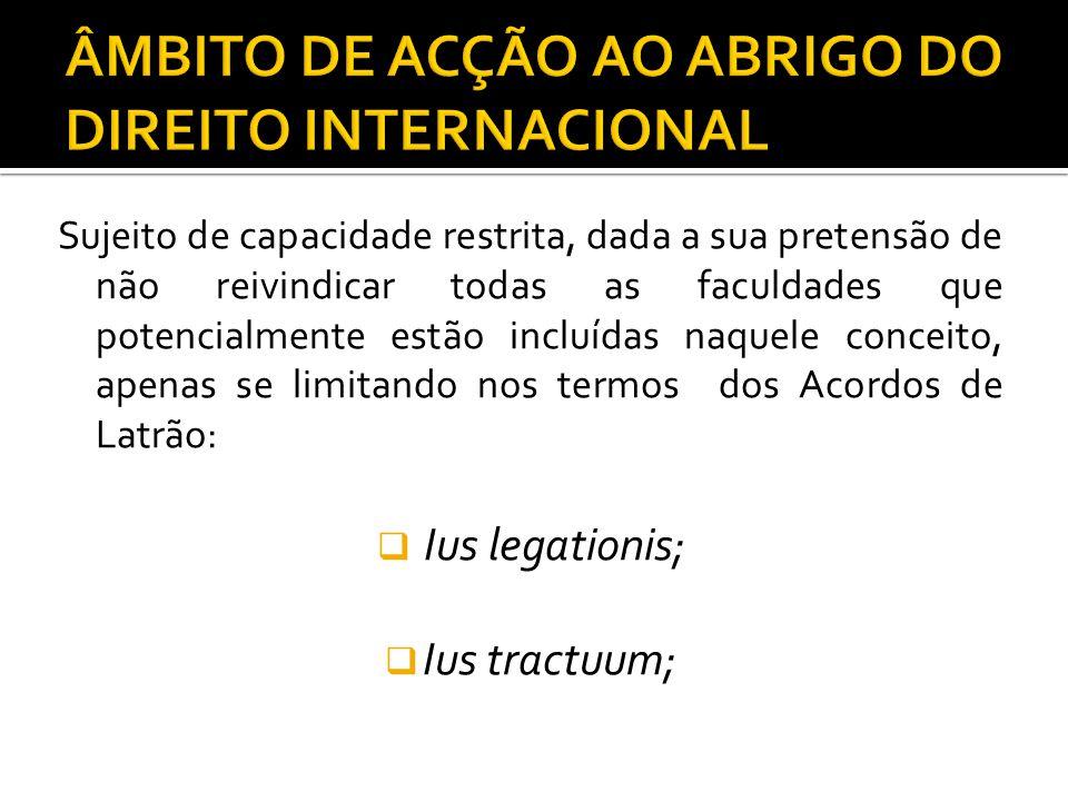 ÂMBITO DE ACÇÃO AO ABRIGO DO DIREITO INTERNACIONAL