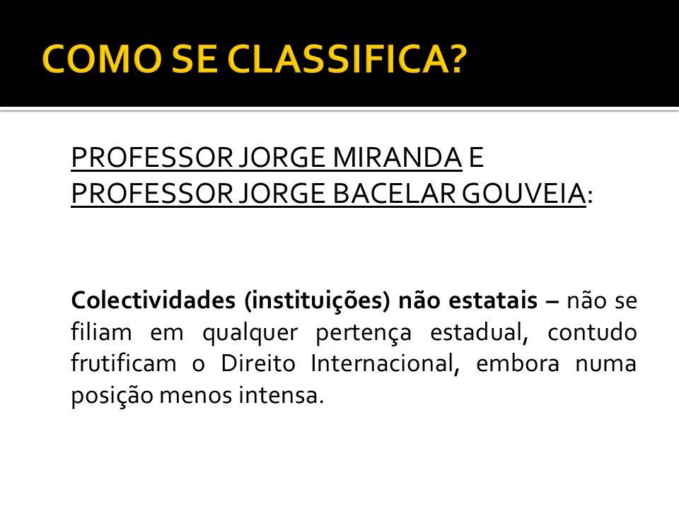 COMO SE CLASSIFICA PROFESSOR JORGE MIRANDA E PROFESSOR JORGE BACELAR GOUVEIA: