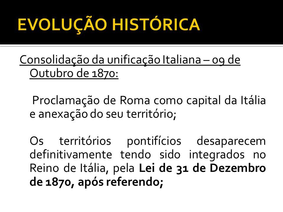 EVOLUÇÃO HISTÓRICA Consolidação da unificação Italiana – 09 de Outubro de 1870: