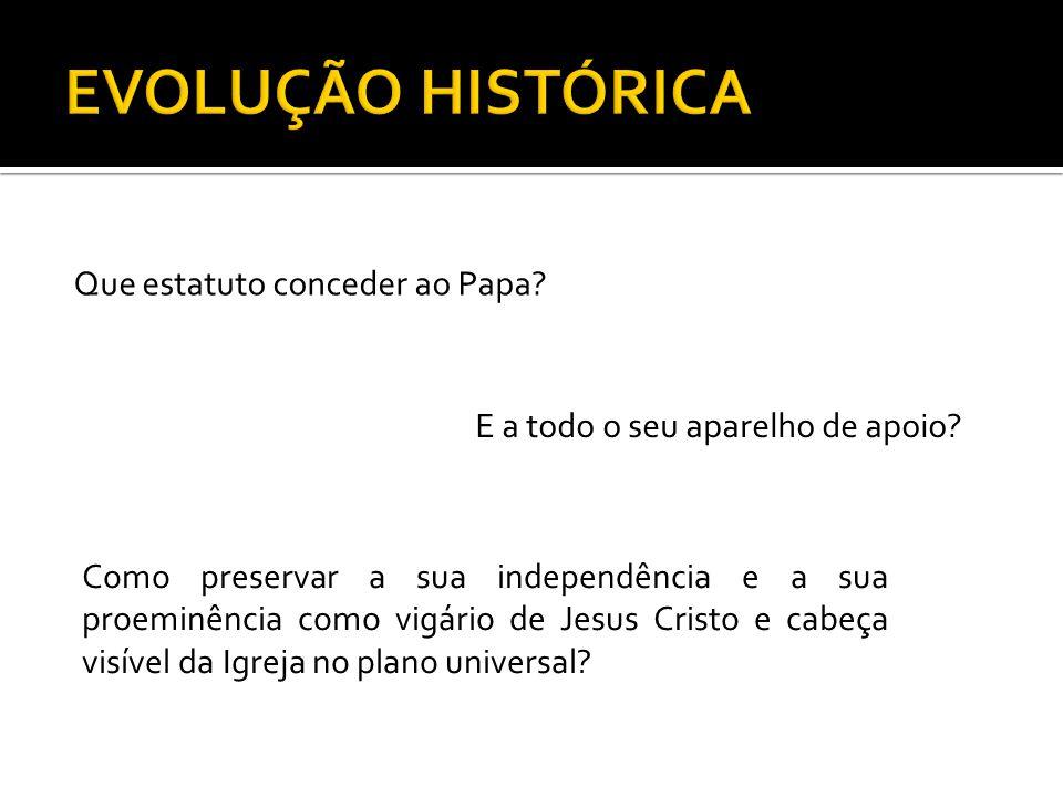 EVOLUÇÃO HISTÓRICA Que estatuto conceder ao Papa