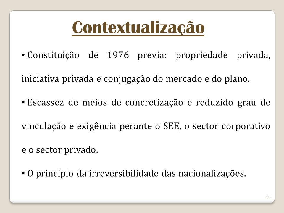 Contextualização Constituição de 1976 previa: propriedade privada, iniciativa privada e conjugação do mercado e do plano.