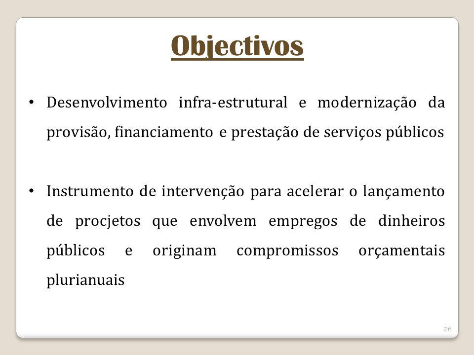 Objectivos Desenvolvimento infra-estrutural e modernização da provisão, financiamento e prestação de serviços públicos.