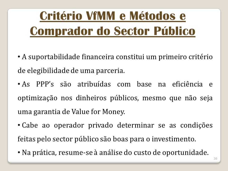 Critério VfMM e Métodos e Comprador do Sector Público