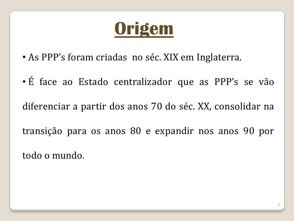Origem As PPP's foram criadas no séc. XIX em Inglaterra.