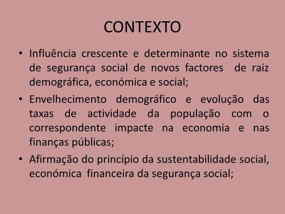 CONTEXTO Influência crescente e determinante no sistema de segurança social de novos factores de raiz demográfica, económica e social;