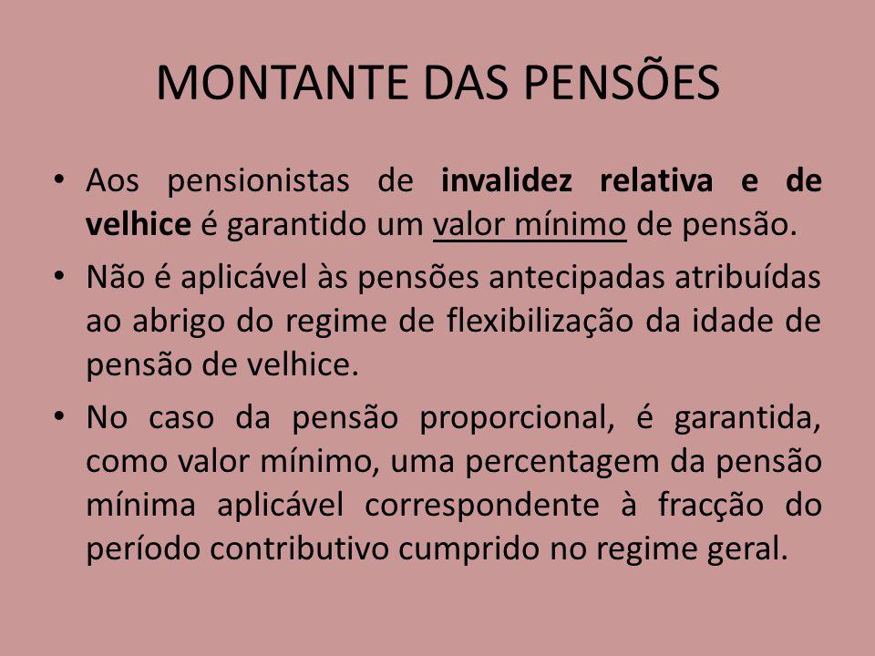 MONTANTE DAS PENSÕES Aos pensionistas de invalidez relativa e de velhice é garantido um valor mínimo de pensão.