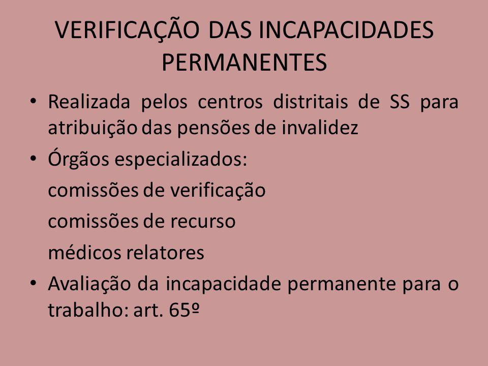 VERIFICAÇÃO DAS INCAPACIDADES PERMANENTES
