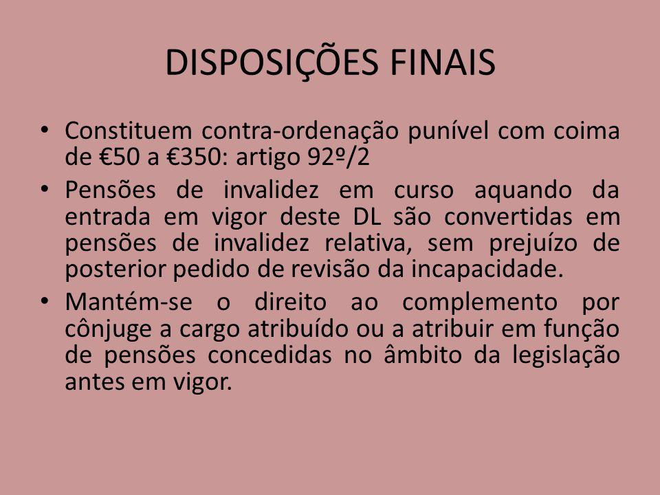 DISPOSIÇÕES FINAIS Constituem contra-ordenação punível com coima de €50 a €350: artigo 92º/2.