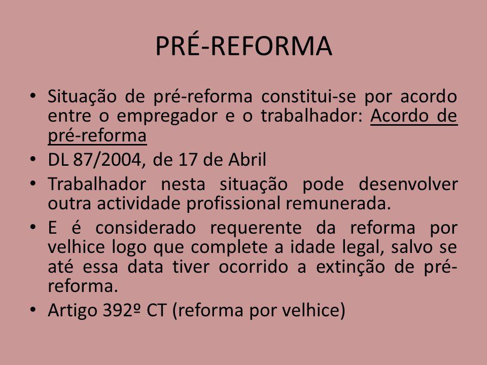 PRÉ-REFORMA Situação de pré-reforma constitui-se por acordo entre o empregador e o trabalhador: Acordo de pré-reforma.