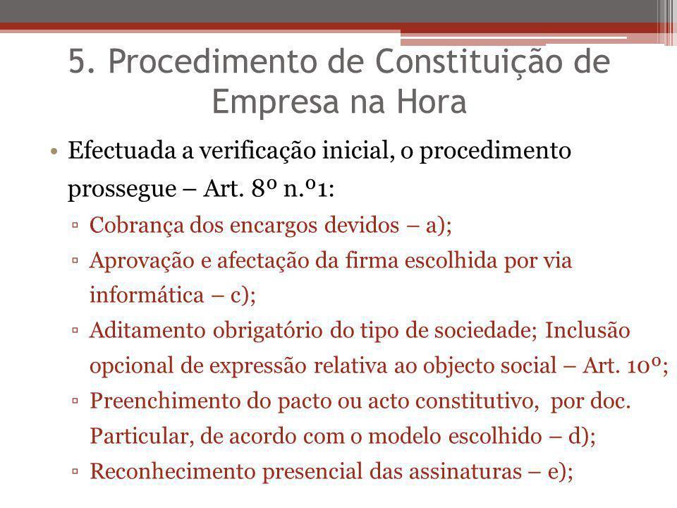 5. Procedimento de Constituição de Empresa na Hora