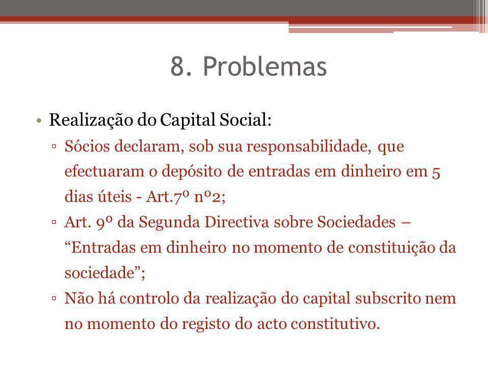 8. Problemas Realização do Capital Social: