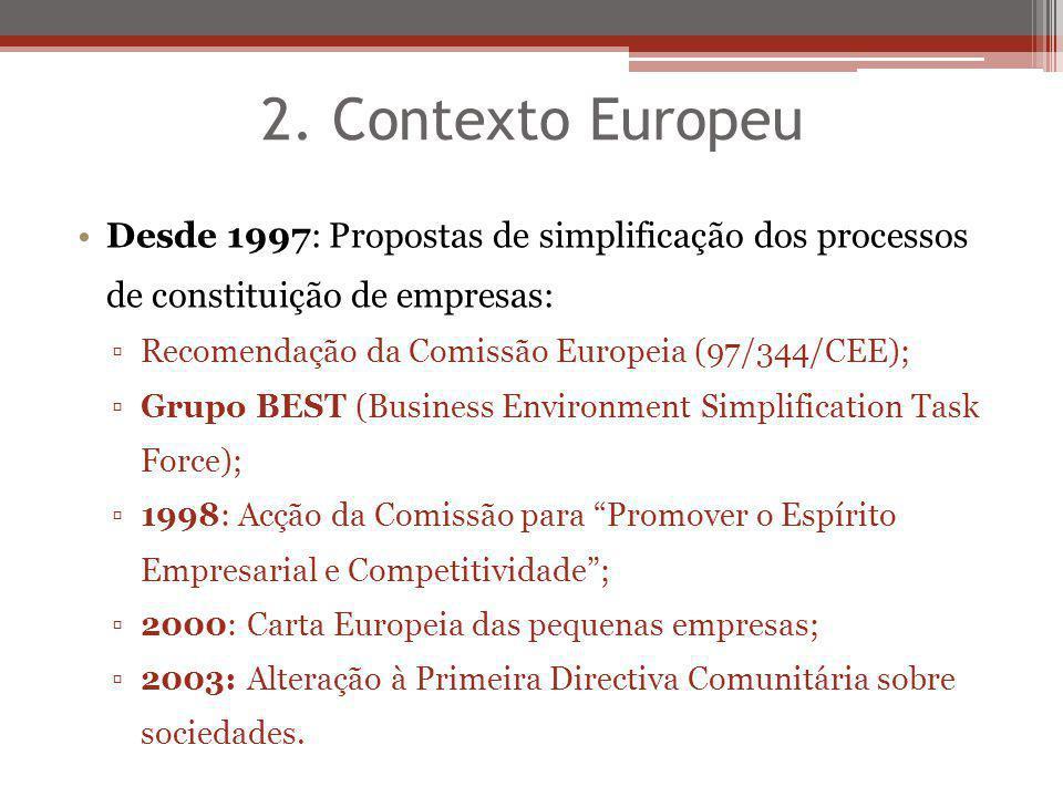 2. Contexto Europeu Desde 1997: Propostas de simplificação dos processos de constituição de empresas: