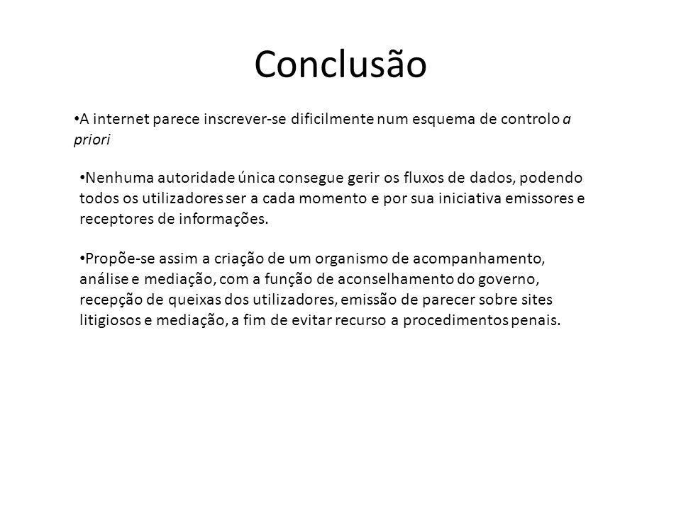 Conclusão A internet parece inscrever-se dificilmente num esquema de controlo a priori.