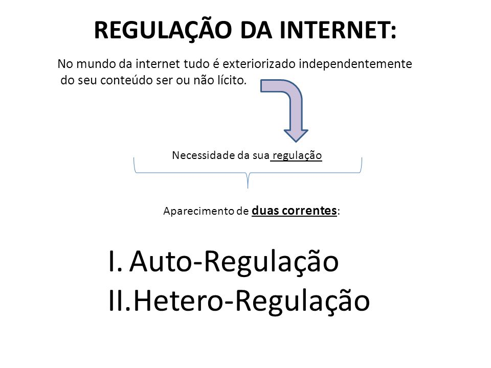REGULAÇÃO DA INTERNET: