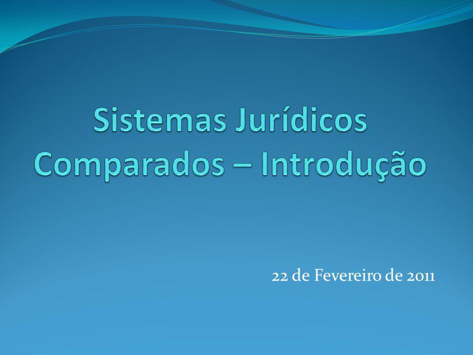 Sistemas Jurídicos Comparados – Introdução