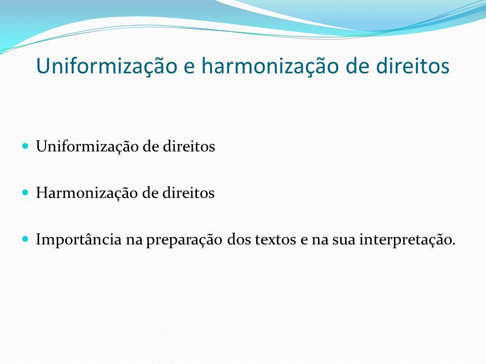 Uniformização e harmonização de direitos