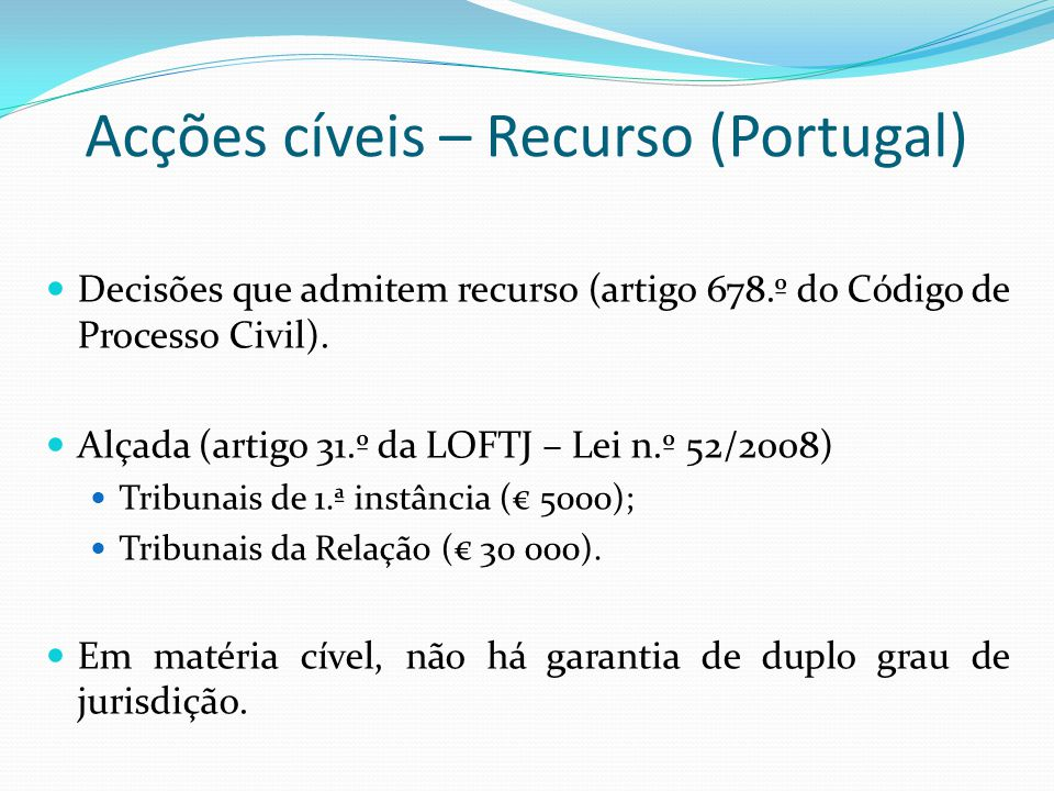 Acções cíveis – Recurso (Portugal)
