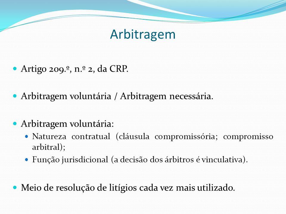 Arbitragem Artigo 209.º, n.º 2, da CRP.