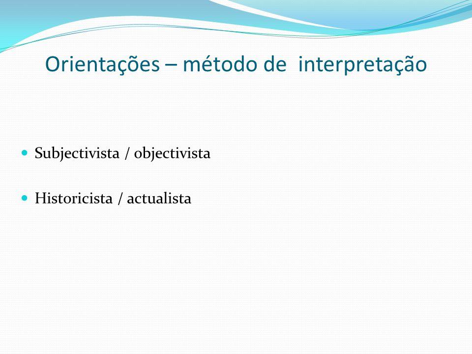 Orientações – método de interpretação
